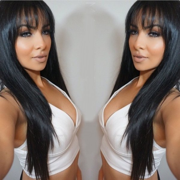 150% density Silky Straight human hair with bang Lace Front Wigs Hand-made Full Lace Human Hair Wigs Glueless Wig with Baby Hair