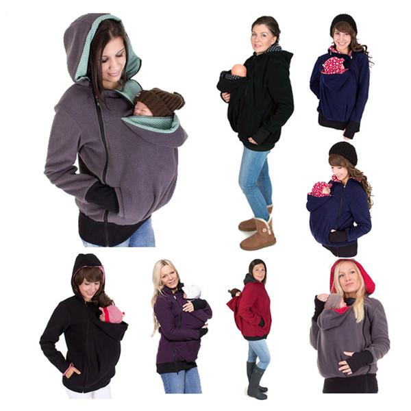 Giacca Marsupio Canguro con cappuccio inverno Capispalla maternità cappotto per donne incinte ispessite Gravidanza bambino cappotto Holder C2211