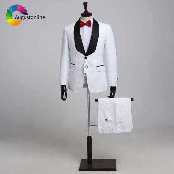 White Pattern Groom Tuxedos Men wedding Suits Black Shawl Lapel Man Blazer Jacquard Jacket 3 Piece Print Groomsmen Wear Evening Prom Party