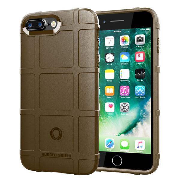 360 derece tam vücut koruma case iphone 8 plus 7 plus yumuşak tpu için kalın katı zırh taktik koruyucu kılıfı