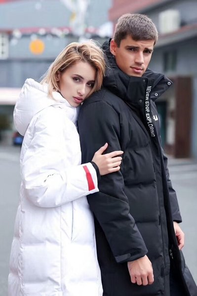 2018 new designer down jacket couple brand shirt with long sleeve stand collar hooded embroidery thin section winter down jacket