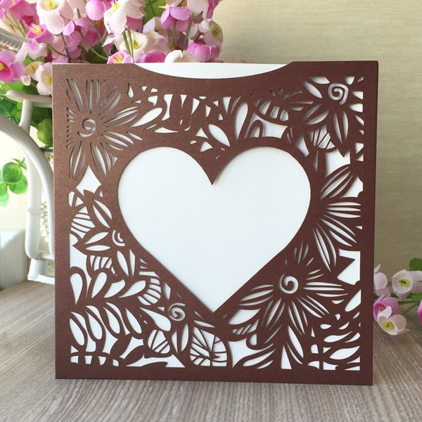35PCS /lot Hollow Laser Cut Big Heart Decoration With Flower Wedding Invitation Cards Graduation Ceremony Invitations Valentine's Day Gift