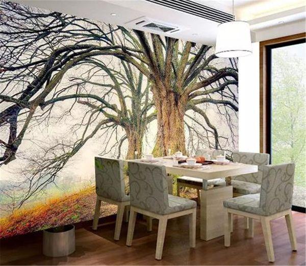Acheter Gros Espace 3d Fond D Ecran Hd Foret D Hiver Grand Arbre Paysage Salon Chambre Fond Decoration Murale Murale Fond D Ecran De 28 15 Du