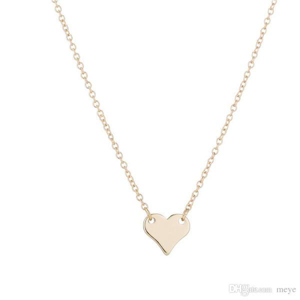 Aço inoxidável Pingente de Cadeia de Bronze Colar Charme Mulheres Gargantilha Collier Jóias Contratada Bonito Coração Amor