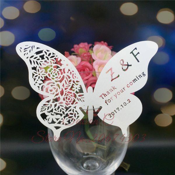 60pcs / lot Butterfly Laser Name Place Card Cup Paper Card Table Mark Wine Glass Favores de la boda Decoración del partido Decoración de la boda