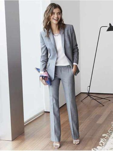 Light Grey Women Pant suits Custom Made Business Office Tuxedos Work Wear One Buttons 2 Pieces Women Suits (jacket+pants)