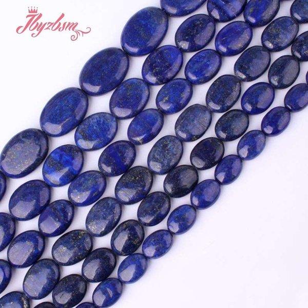 12x16mm 13x18mm 15x20mm Ovale Bleu Lapis Lazuli Pierre Spacer Perle Lâche Pour DIY Collier Bracelet Fabrication de Bijoux 15