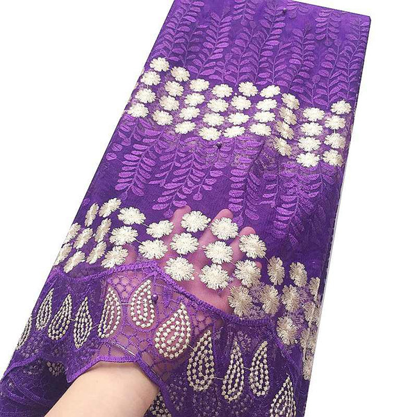 Elegant Nigerian Lace Fabrics Aso Ebi African French Net Lace Fabric 2018 Floral Teal Gold Purple Lace Fabric With Beads