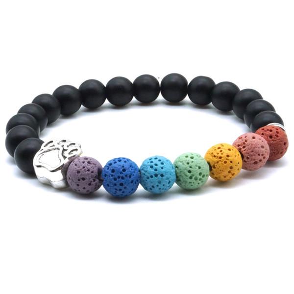 Bunte 8mm Lavastein Hund Pfote sieben Chakren Heilung Balance Perlen Reiki Buddha Gebet ätherisches Öl Diffusor Armband Schmuck