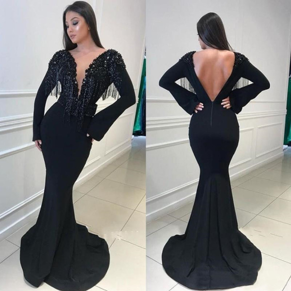 Charming Black Long Sleeves Mermaid Deep V-Neck Prom Gown Sweep Train Tassels Backless Evening Dress Mother of the Bride Red Carpet Dress