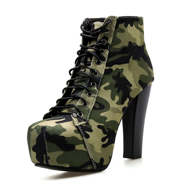 camouflage shoes platform boots heels 11cm military womens boots ankle shoes woman boot pumps new cowboy boots for women, Black