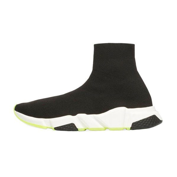 2019 Fashion luxury designer men shoes socks women black white red glitter green Flat mens Speed Trainers sneakers Runner casual sock shoe