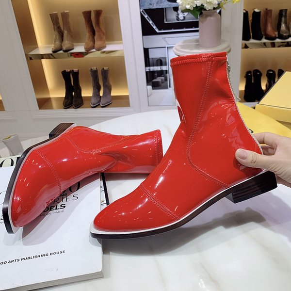 2020 latest fashion women's shoes designer winter boots leather bottom round head slip and women's boots combat boots 105