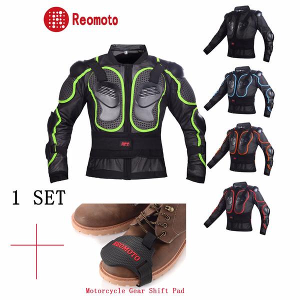 Armadura de corpo de Motocross Back Armor jaqueta Protetor corpo da motocicleta + Shifter Da Motocicleta Meia Cobertura Sapatos de Inicialização Pads de Proteção