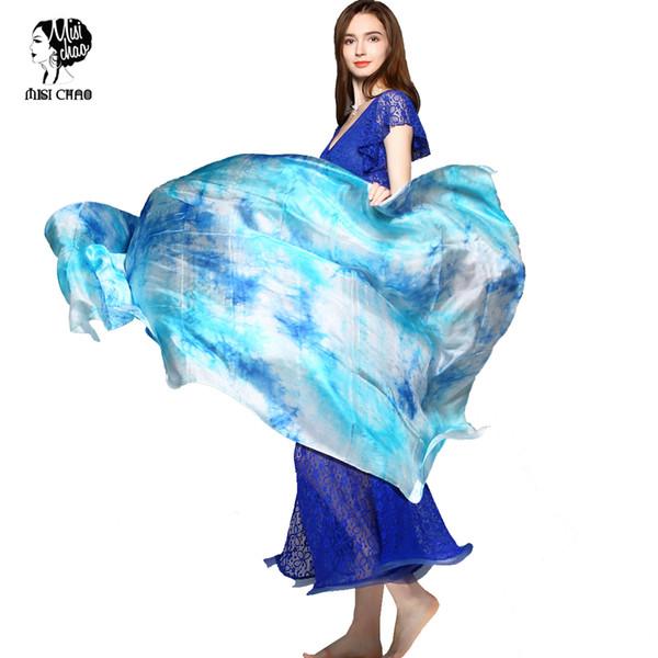 Seta Veil Belly Dance Veli reale scialle di seta gradiente Tie-tintura Sciarpa di seta Bollywood Costume Dancewear dello scialle