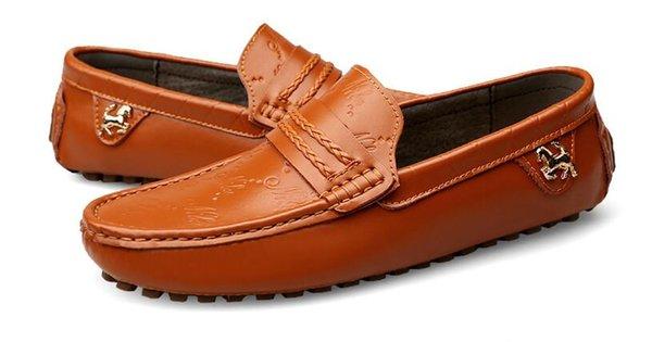 Большой Размер 37 ~ 47 Высокое Качество Натуральная Кожа Мужская Обувь Мягкие Мокасины Мокасины Модный Бренд Мужчины Квартиры Удобные Обувь Для Вождения