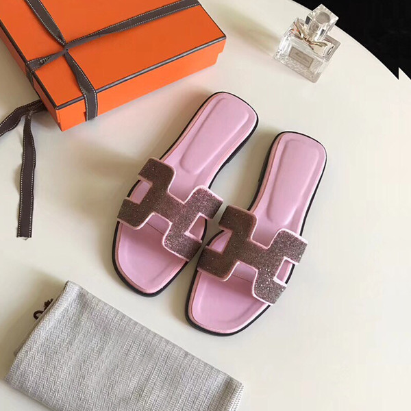 Flat Slippers Pink Open Toe Women Flip Flop Shoes Outdoor Casual Slippers With Genuine Leather Sole Fashion Slip-on Style