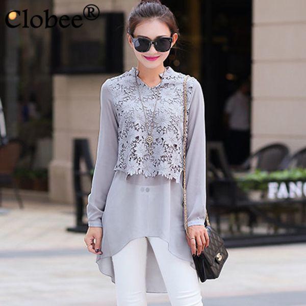Vintage Long design Chiffon office shirt long sleeve tunic tops shirt Vetement Women blouse Plus size Floral Stitching lace Tops