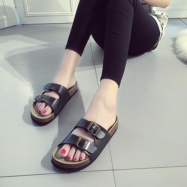 Leather Women Slippers 2019 Summer Soft Cork Buckle Flip Flops Women Beach Slides Casual White Woman Flip Flops Shoes