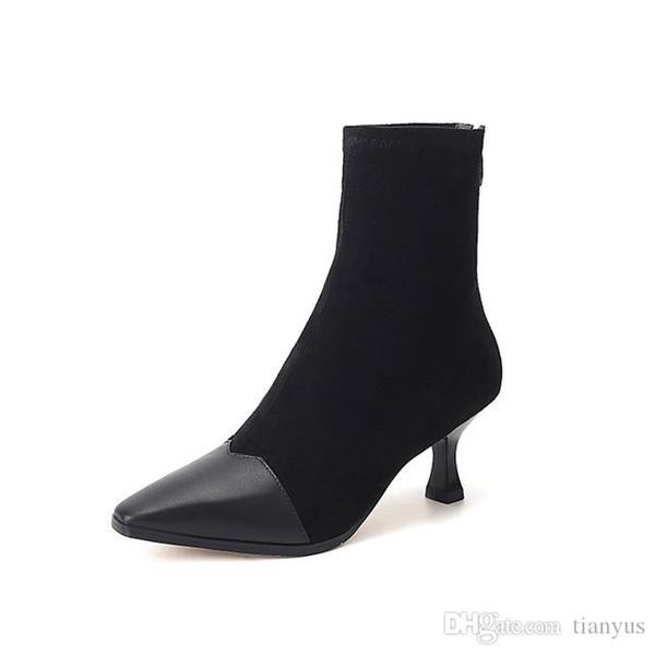 Chaussures Extensible De Dames Zip Bout Femmes Bottines Chaussures Acheter Pompes Hauts Stiletto Chaussettes Bottes Tissu Travail Talons Femmes Pointu 43RLAj5