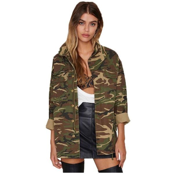 2019 donne primavera vintage camouflage verde militare cerniera pulsante giacche camicette outwear cappotti camicette giacca femminile all'ingrosso y298