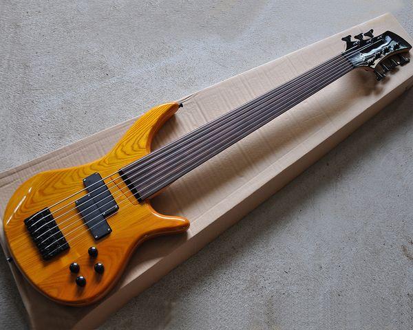 Kostenloser Versand 7 Saiten natürliche Holzfarbe E-Bass mit Esche Körper, Palisander Griffbrett ohne Inlay, bietet maßgeschneiderte Dienstleistungen