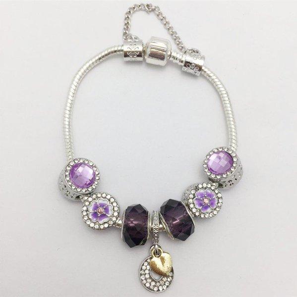 Новый стиль фиолетовые орхидеи большое отверстие шарик Серия женщин змея кости браслет
