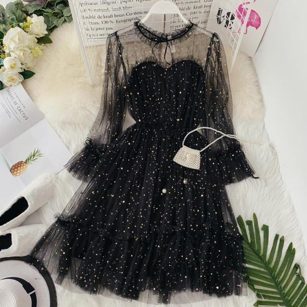 best selling Hisuma Summer New Women Star Sequins Gauze Flare Sleeve High Waistline Princess Dress Female Elegant O-neck Mesh Puff Dresses J190611
