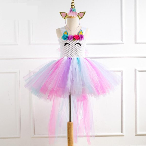 2019 Hot Sale Girls Dress Roupas Infantis Menina Unicorn Tutu Girl Dresses With Headwear Tail For Children Performing Clothes