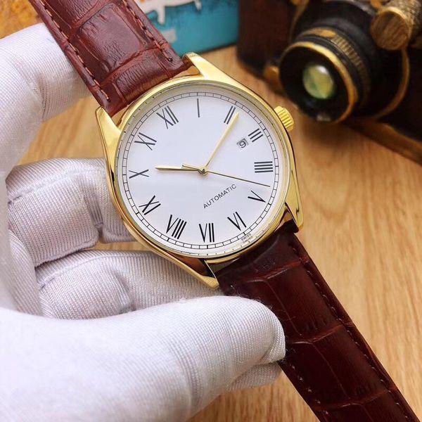 En iyi kalite Üst marka erkek saatler lüks 40mm Tam Paslanmaz Çelik Mekanik Otomatik Hareket Kendini rüzgar altın erkekler için İzle en iyi hediye