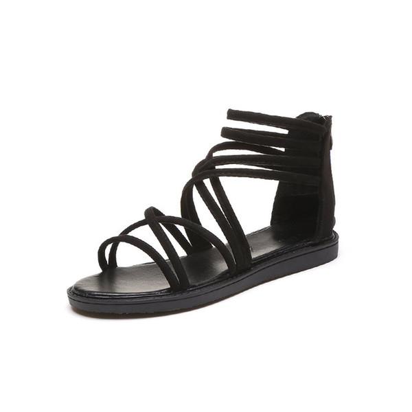 New Fashionable Sexy Design Mulheres Sandálias Gladiador Mulheres Sapatos de Verão Femininos Sandálias Flat Roma Estilo Cruz Sapatos