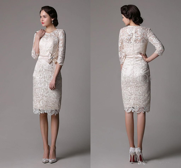 Elegant Lace Sheath Mother Of The Bride Dresses Long Sleeves Wedding