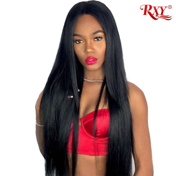 Dritto merletto pieno per le donne nere parrucca diritta peruviana dei capelli umani piena parrucca glueless capelli lisci peruviana anteriore del merletto parrucche dei capelli umani