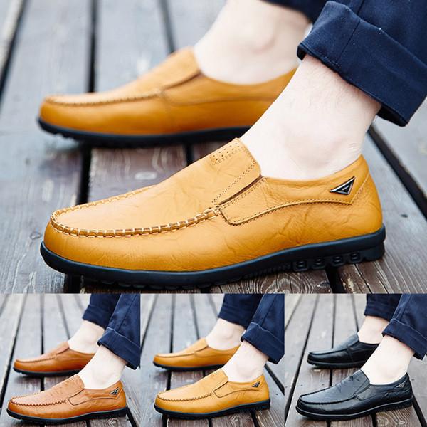Eğlence Erkekler Iş Deri Ayakkabı Rahat Yuvarlak Ayak Bezelye Ayakkabı Erkek Takım Elbise erkek Elbise Klasik İş Parti Ofisi