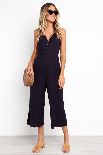 Combinaisons d'été Sexy nouveau v-cou dos nu costumes avec bouton pour les femmes en vrac décontracté grande taille Capris Jumpsuit S-XL