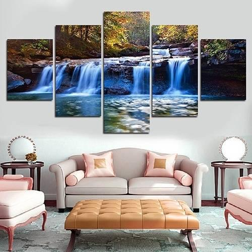 5pcs/set Unframed Lake Trees and Clouds HD Print On Canvas Wall Art Picture For Home and Living Room Decor