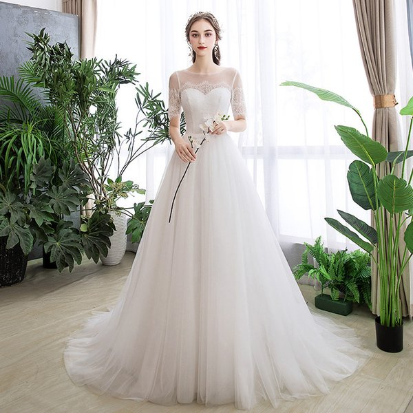 Wedding Dresses Female Bride 2019 Simple And Slender Small Tail Mori Super Immortal Dream Brigade Photographed Light Garment Wedding Dresses On