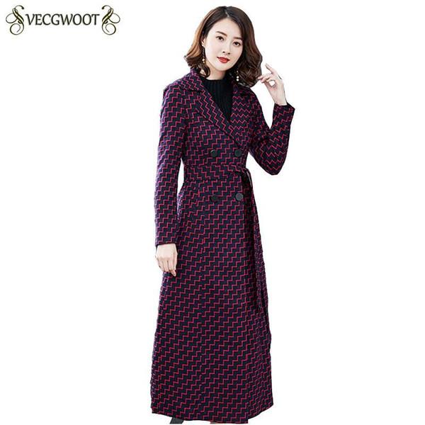 2018 Outono Inverno Moda Novas Mulheres Blusão Longo Xadrez Fêmeas Casaco Fino Elegante Temperamento Outerwear Alta Qualidade PR561
