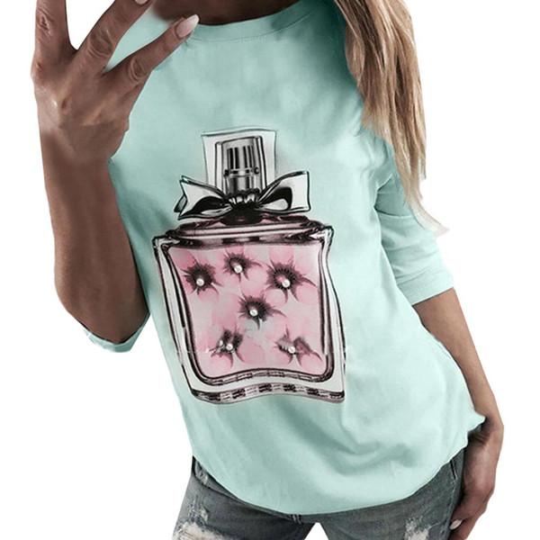 Feitong Shirts Womens Long Sleeve Fashion Perfume Bottle Print T-Shirt Tops female Casual O-neck Soft sexy top tees High Quality