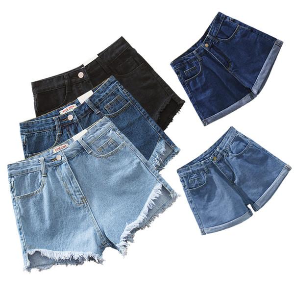 Shorts D'été Pour Femmes Jeans Denim Taille Haute Court Élastique Chaud Sexy Mince 2018 Shorts Femmes Feminino Poches Harajuku Y19050905
