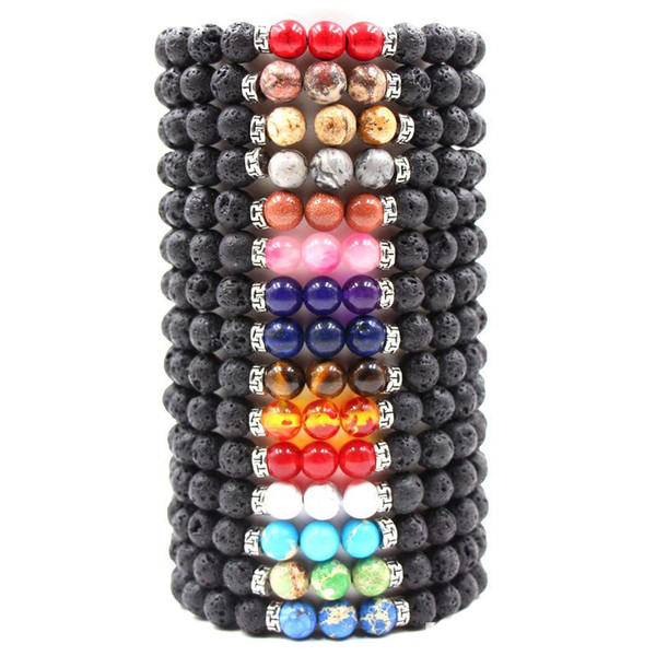 best selling Hot 8MM Natural Lava Rock Stone Bracelet Colorful Chakra Beads Bracelets For women & men Volcanic Yoga Elastic Energy Jewelry