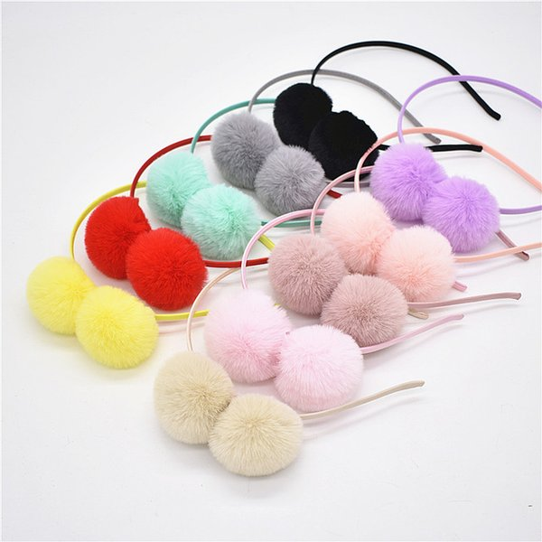 20pcs baby Pom pom ball Hair hoop Hairband Accessories Girls pompons Head hoop headbands rabbit ears flocculus hair bands headwear FG110