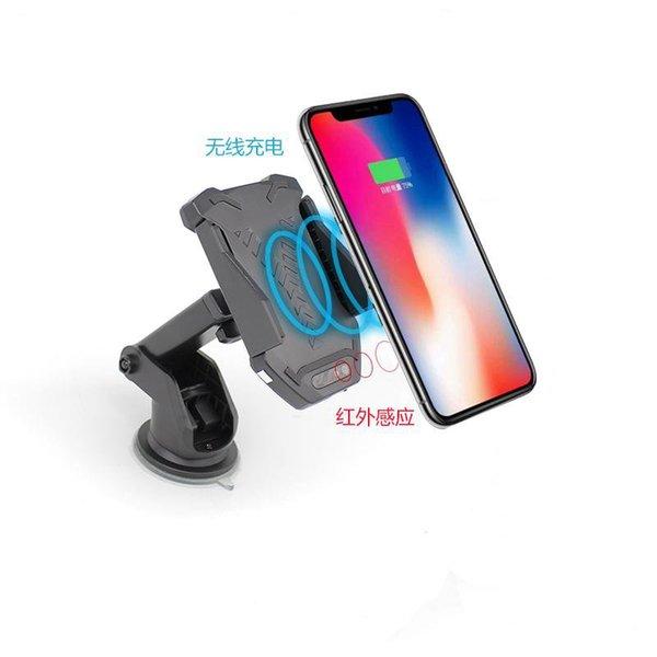 Cargador de coche inalámbrico de 10 W Sensor de infrarrojos automático Soporte de cargador rápido inalámbrico Qi para Samsung Galaxy S9 S9 Plus S8 iPhone X 8 7