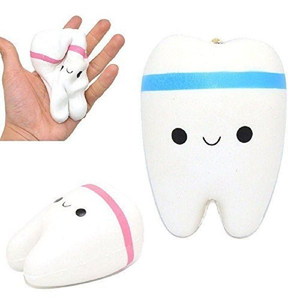 11cm Novelty Jumbo Squishy Tooth Toy Slow Rising Soft Squeeze Cute Cell Phone Strap Toys Kids Baby Kawaii Novelty Presents intersting&fun