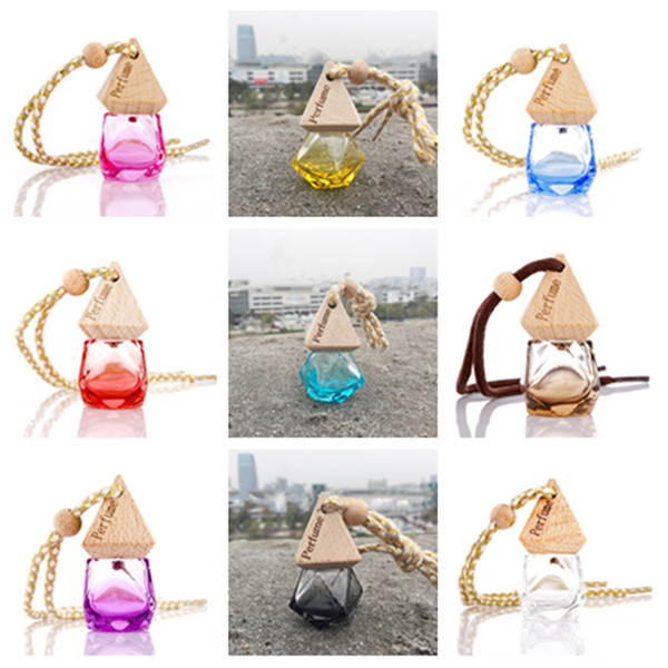 best selling Car Perfume Bottle With Wood Cap Hanging Rearview Ornament For Essential Oils Diffuser Refillable Empty Glass BottlY1i08