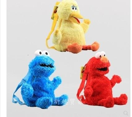 Spedizione gratuita 45 cm Sesame Street Elmo Cookie Monster peluche Zaino animale Borsa del fumetto farcito bambola animale giocattolo per regalo SH190909