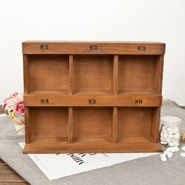 Decor Wooden Storage Box 6 Section Divided 2 Layers Drawer Desk Wood Organizer Multi-functional Wooden Storage Shelf
