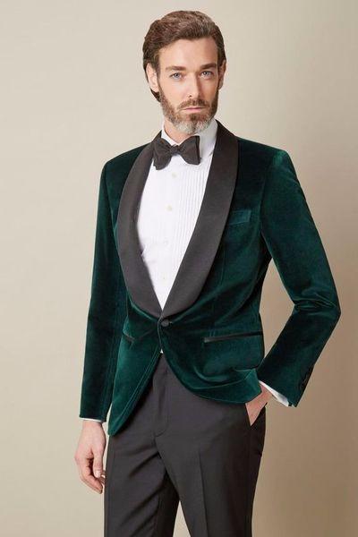 Fashionable Green Velvet Groom Tuxedos,Handsome Slim Fit Men Wedding Groomsmen Business Party Prom Suits (Jacket+Pants+Tie) W:775