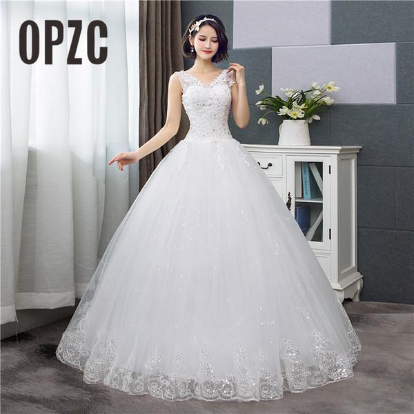 Korean Style V-Ausschnitt Spitze Tank Sleeveless Blumendruck Ballkleid Brautkleid 2018 Neue Mode Einfache Estidos De Noivas Cc C19041701