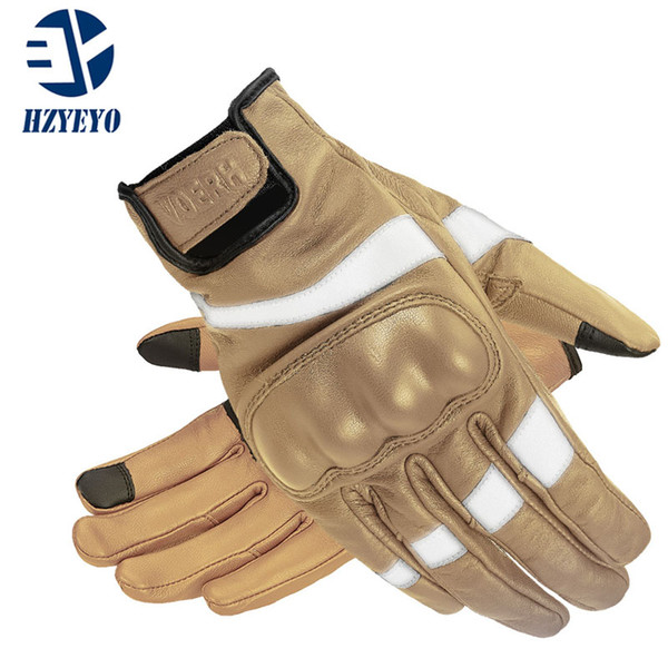 Motorcycle Glove Men's Genuine Leather Gloves Real Sheepskin Touch Screen Cycling Gloves Reflecting at night ,HZYEYO,H-005